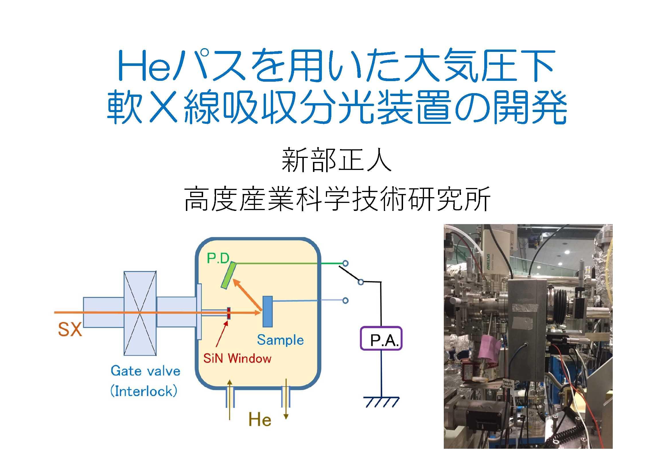 21. Heパスを用いた大気圧下軟X線吸収分光装置の開発